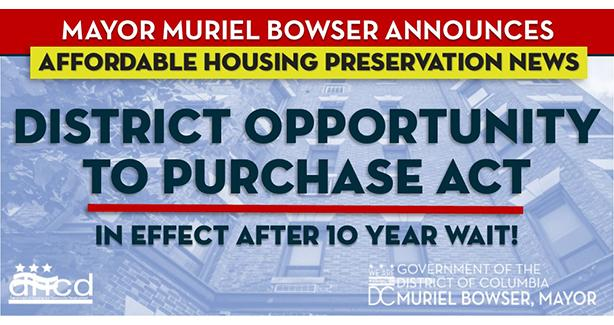 Mayor Bowser Increases District's Authority to Purchase and Preserve Affordable Housing