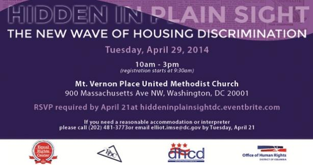 Fair Housing Symposium, April 29, 2014, from 10 am to 3 pm at the Mt. Vernon Place United Methodist Church