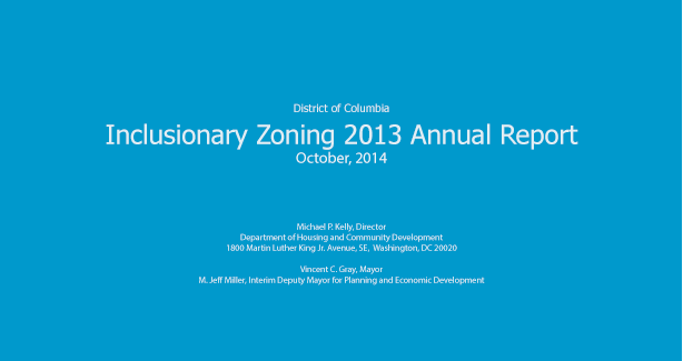 2013 Inclusionary Zoning Annual Report