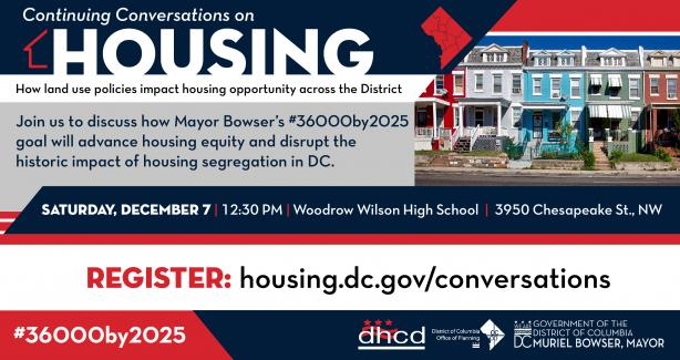 Flyer inviting residents to attend a continuing conversation on housing.